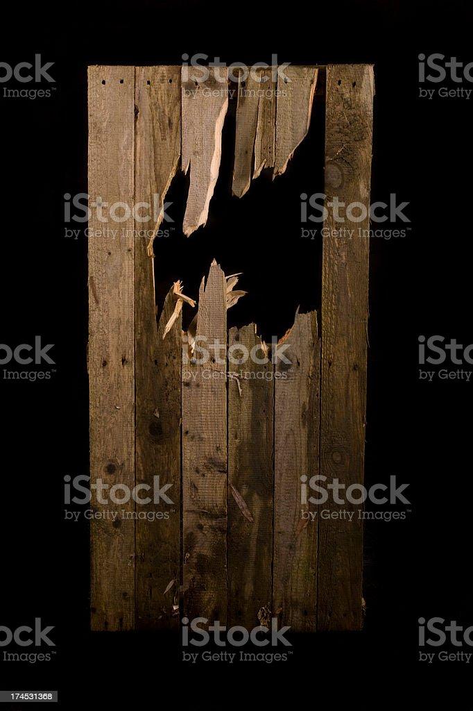 Broken fence panel stock photo