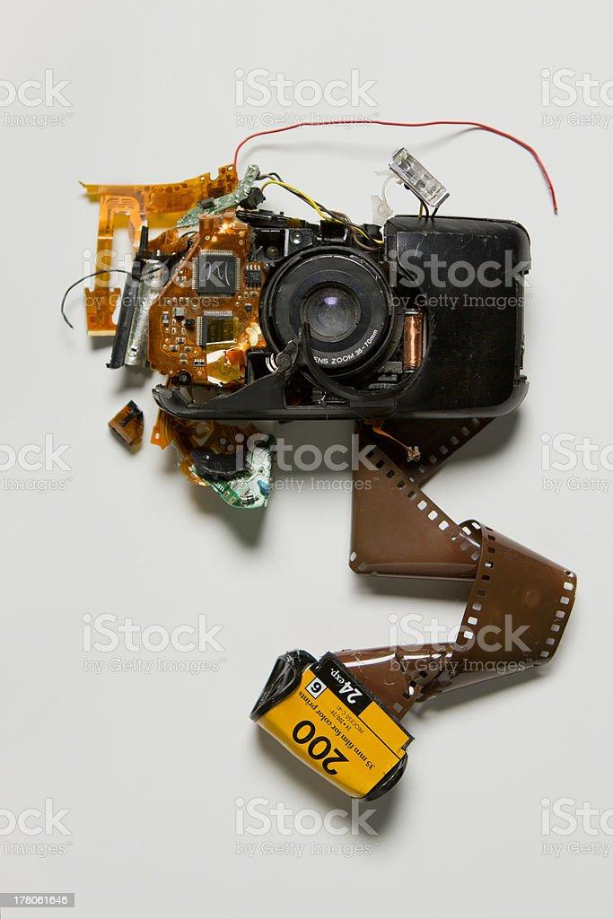Broken film camera stock photo