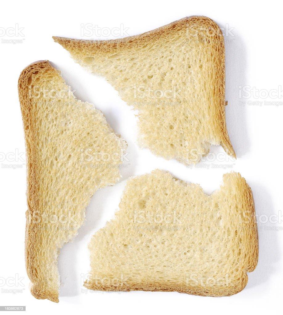 Broken French Toast on White Background royalty-free stock photo