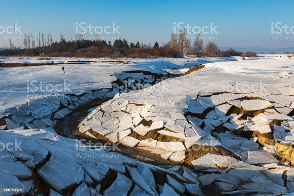 Broken Frozen Lake stock photo