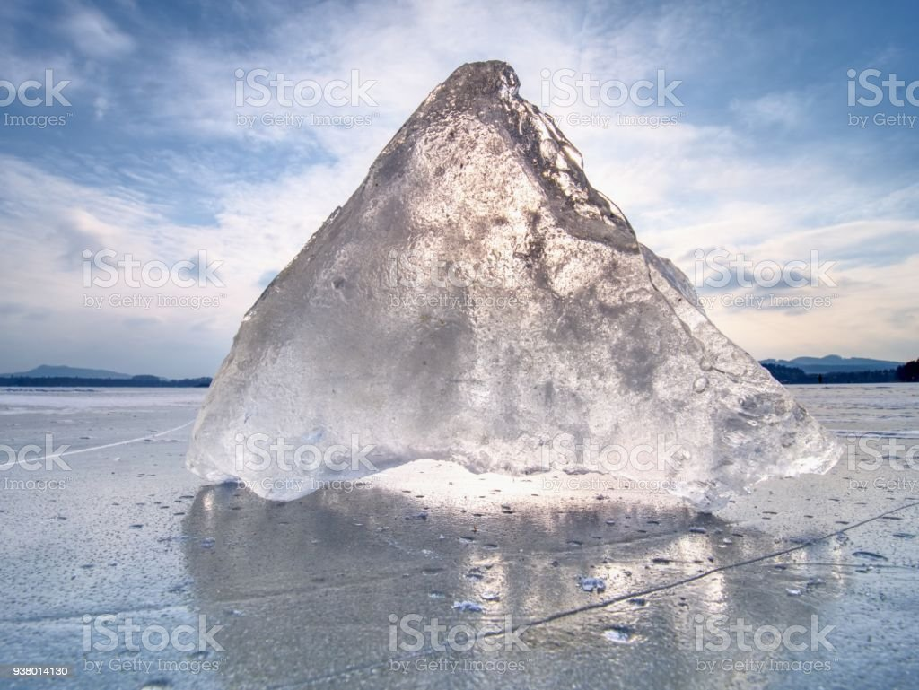 Broken glacier in the frozen bay. Beautiful winter background. Marvelous winter scene stock photo