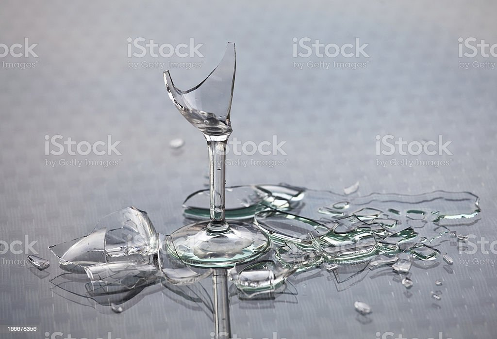 Broken Glass and Alcoholic Drink Alcoholism Concept stock photo