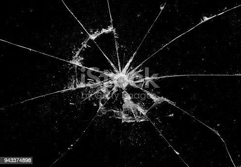 istock Broken glass craked on black background ,hi resolution photo art abstract texture object design 943374898