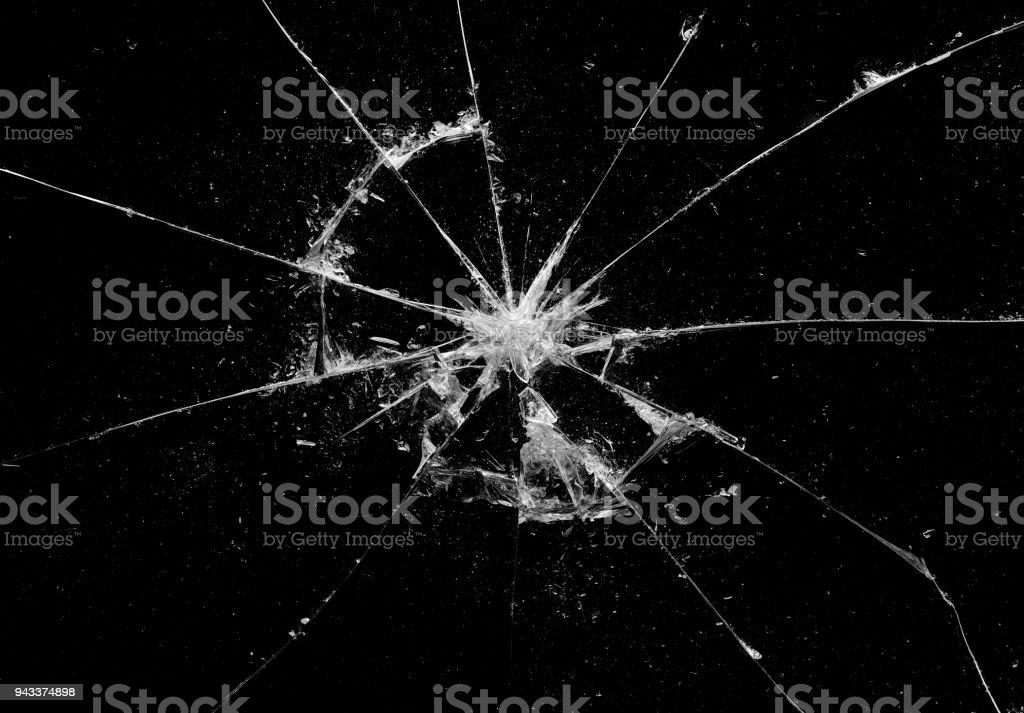 Vidrios rotos crakeado en fondo negro, Hola arte de resolución de la foto abstracta diseño de objeto de textura - foto de stock