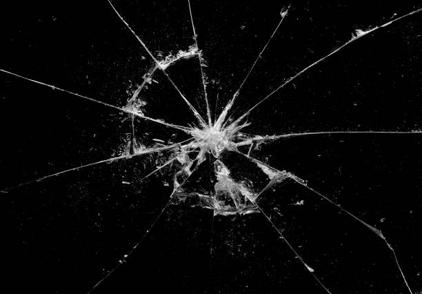 Broken glass craked on black background ,hi resolution photo art abstract texture object design stock photo