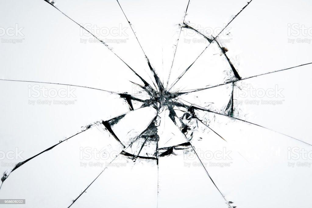Vidrios rotos crakeado en fondo blanco, Hola arte de resolución de la foto abstracta diseño de objeto de textura - foto de stock