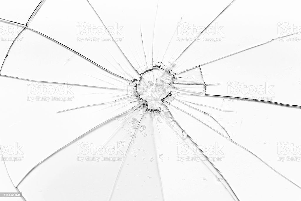 Broken glass in B&W royalty-free stock photo