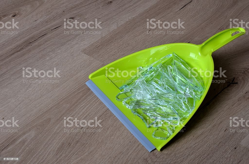 Broken glass in pan stock photo