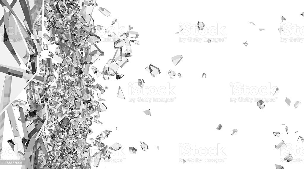 Broken Glass into Pieces isolated on white background stock photo