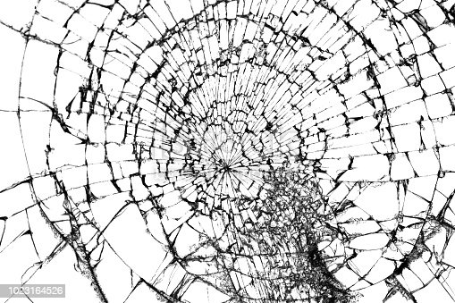 istock Broken glass isolated on white. Shattered glass background. 1023164526