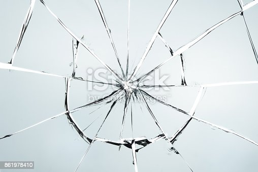 istock Broken glass isolated on white texture wallpaper background  object design crash accident concept 861978410