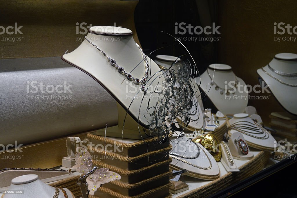 Broken Glass jewelry store gold, Brilliant, outdoors stock photo