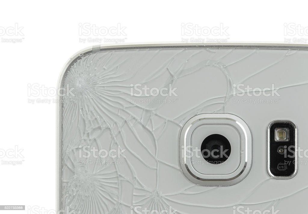 Broken glass of smartphone stock photo