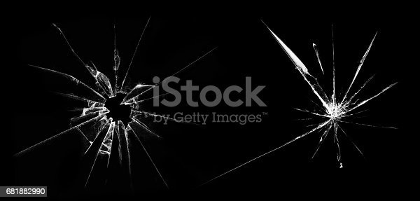 istock Broken glass on a black background 681882990