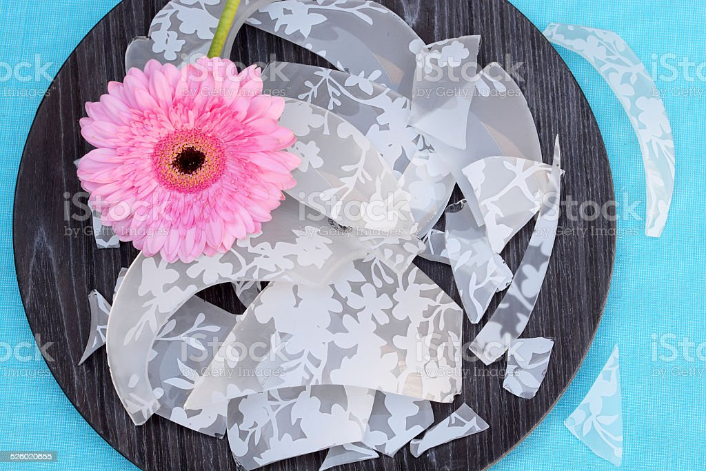 Broken glass on a woddenplaid with daisies stock photo