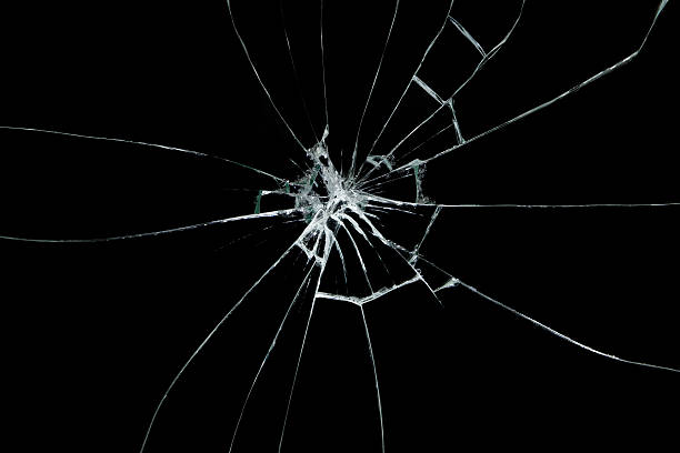 broken glass on black background - glass stock photos and pictures