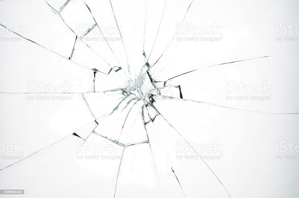 Broken glass on white background​​​ foto