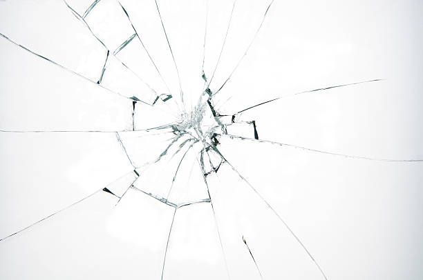 broken glass on white background - glass stock photos and pictures