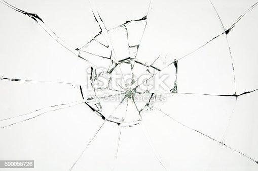 istock Broken glass on white background 590055726