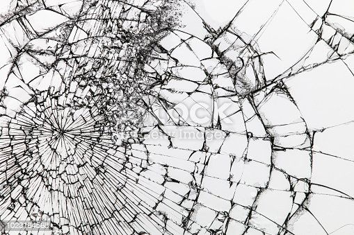 istock Broken glass on white background. Shattered glass. 1023164568