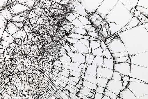 istock Broken glass on white background. Shattered glass. 1023164568