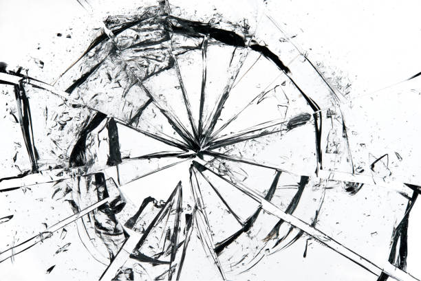 Broken glass on white background , texture backdrop object design stock photo