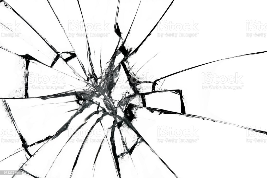 Broken glass on white background , texture backdrop object design - Photo