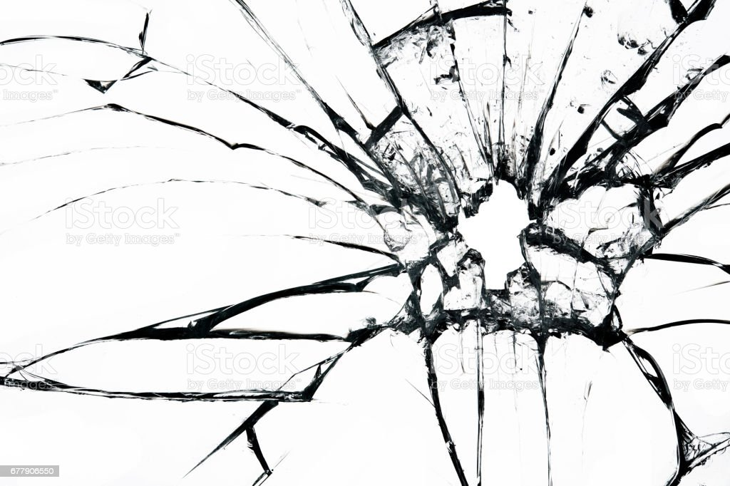 Broken glass on white background , texture backdrop object design royalty-free stock photo