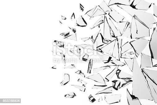 istock Broken glass on white background , texture decoration backdrop object design 853288806