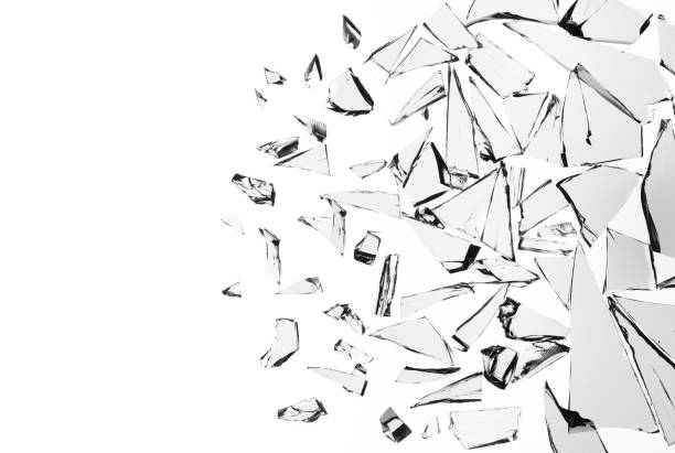 Broken glass on white background , texture decoration backdrop object design stock photo