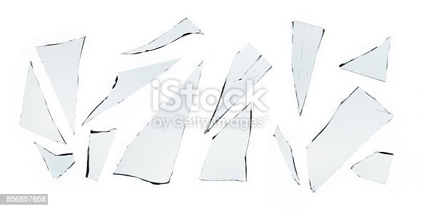 istock Broken glass on white background , texture decoration backdrop object design 856857658
