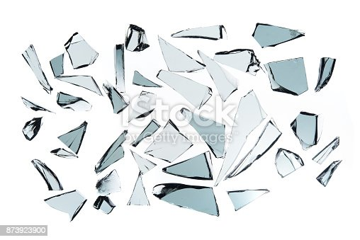 istock Broken glass on white background , texture decoration backdrop object design 873923900