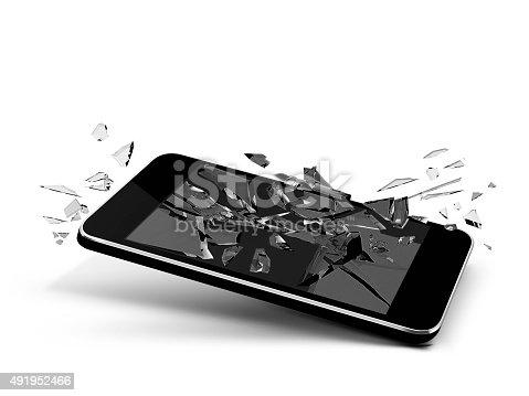 broken glass phone cellular design isolated blsack
