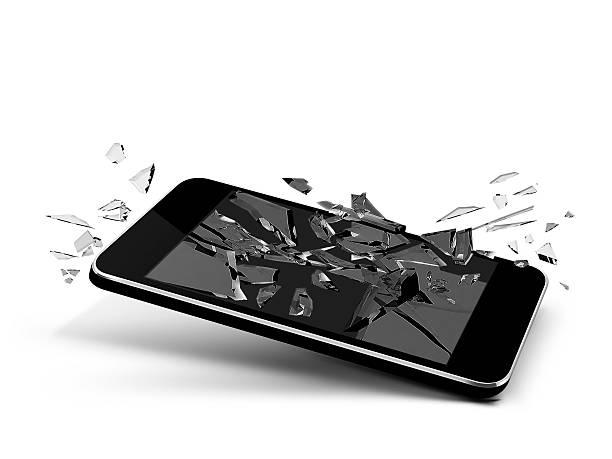 broken glass phone stock photo