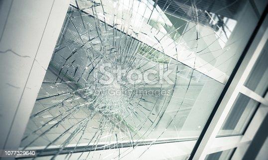 broken facade glass, close up