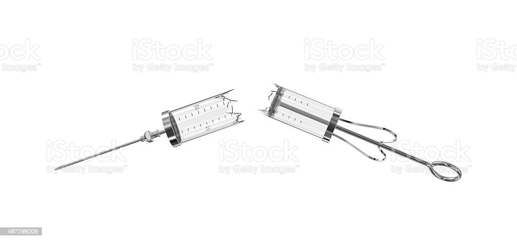 Broken glass reusable syringes isolated stock photo