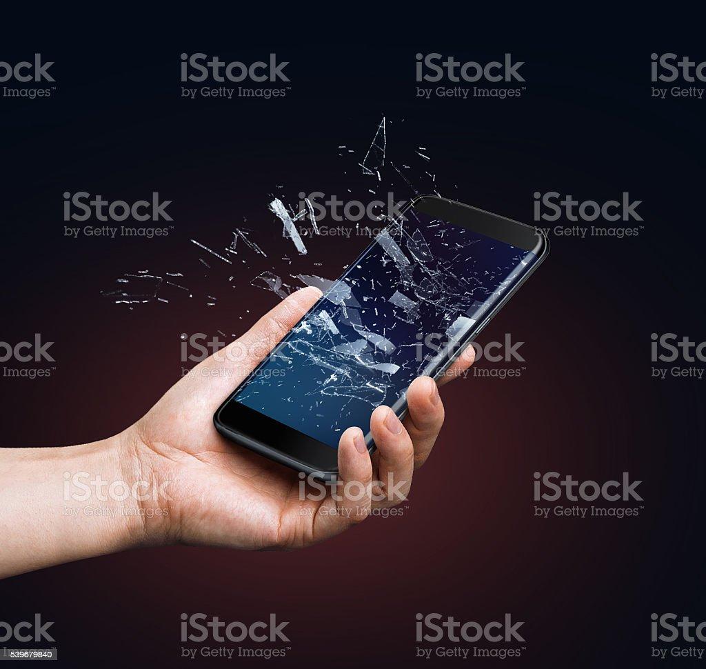Broken glass screen of smart phone stock photo
