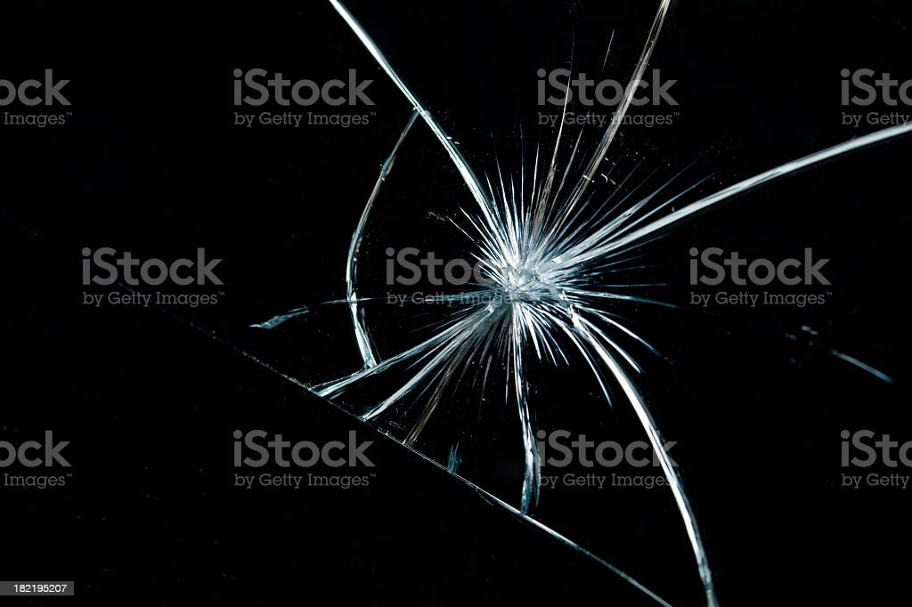 Broken glass shattered into pieces royalty-free stock photo