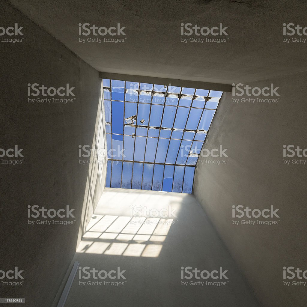 Broken Glass Sunroof in Old House royalty-free stock photo