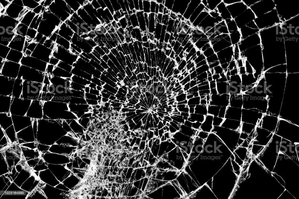 Broken Glass Texture Isolated On Black Shattered Glass ...