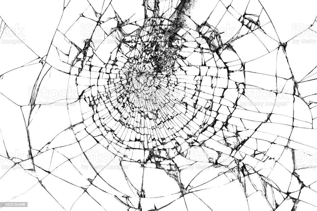 Gebroken glas textuur geïsoleerd op wit. Verbrijzelde glas achtergrond. - Royalty-free Abstract Stockfoto