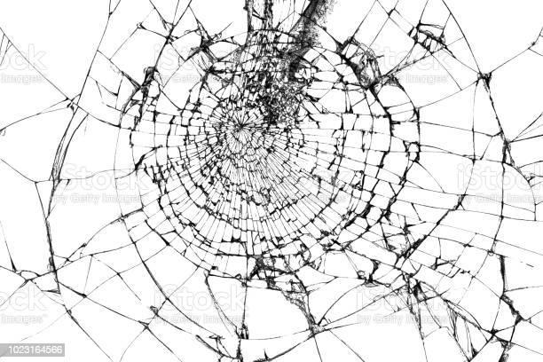 Gebroken Glas Textuur Geïsoleerd Op Wit Verbrijzelde Glas Achtergrond Stockfoto en meer beelden van Abstract