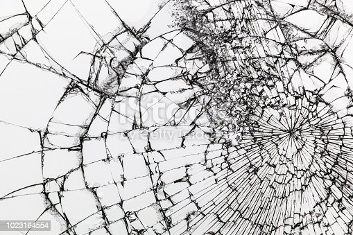 istock Broken glass texture on white background. Shattered glass. 1023164554