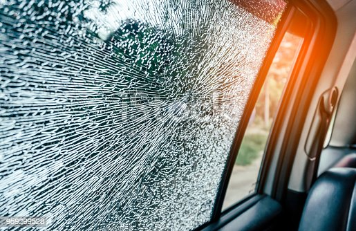 istock Broken glass window car damaged has accident 959299528