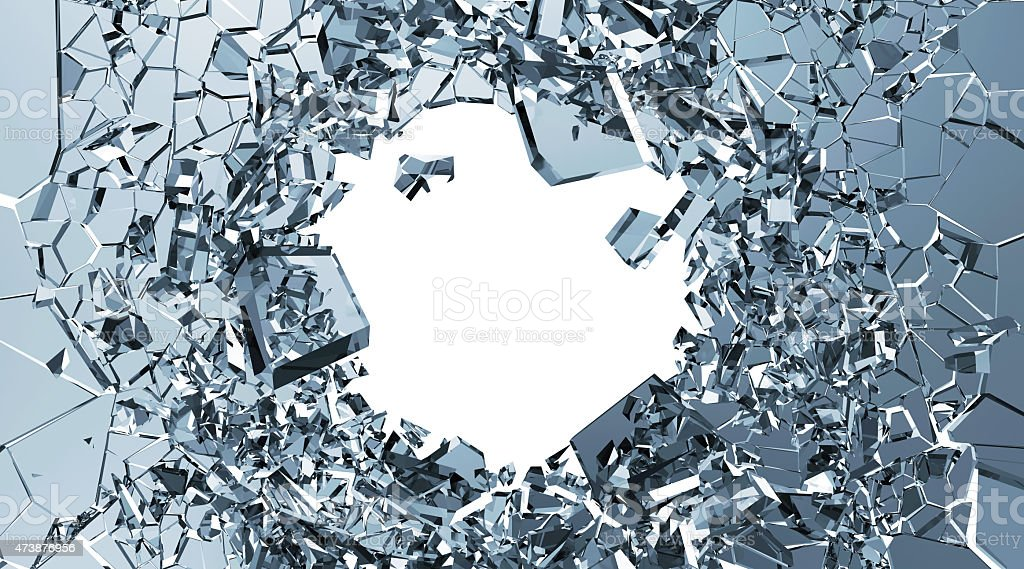 Broken glass with hole in the middle on white background stock photo