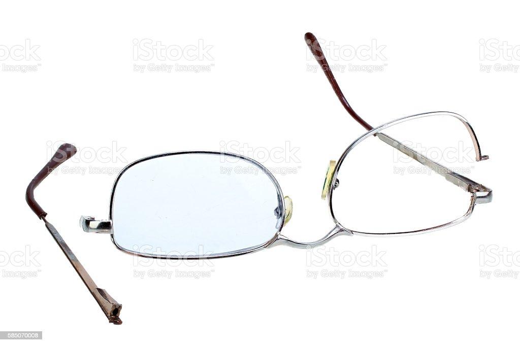 Broken glasses isolated on white background stock photo