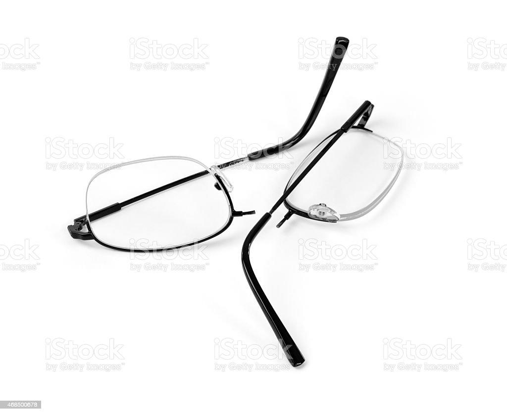 Broken Glasses Isolated on White stock photo