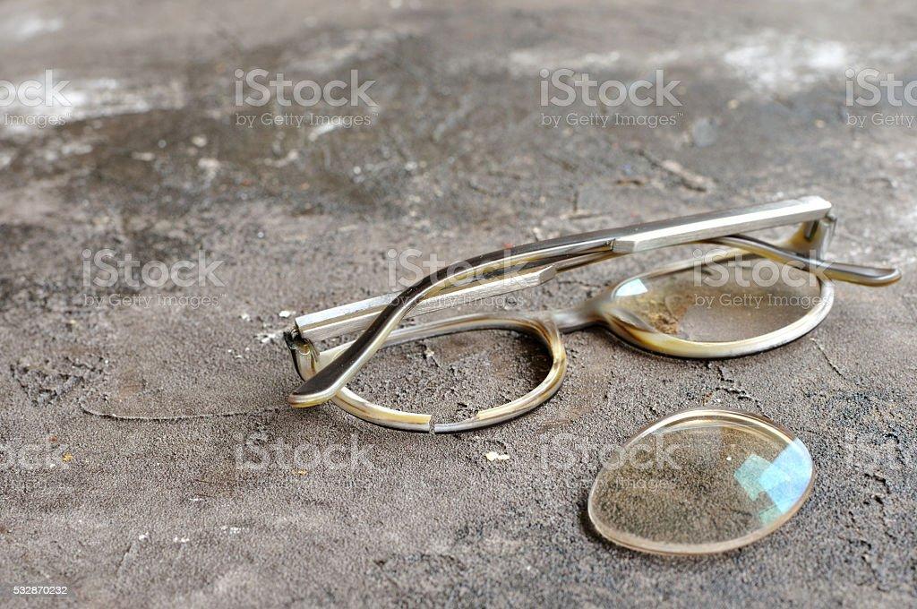 Broken glasses selective focus stock photo