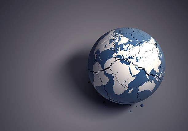 Broken globe concept for fragile world heritage stock photo