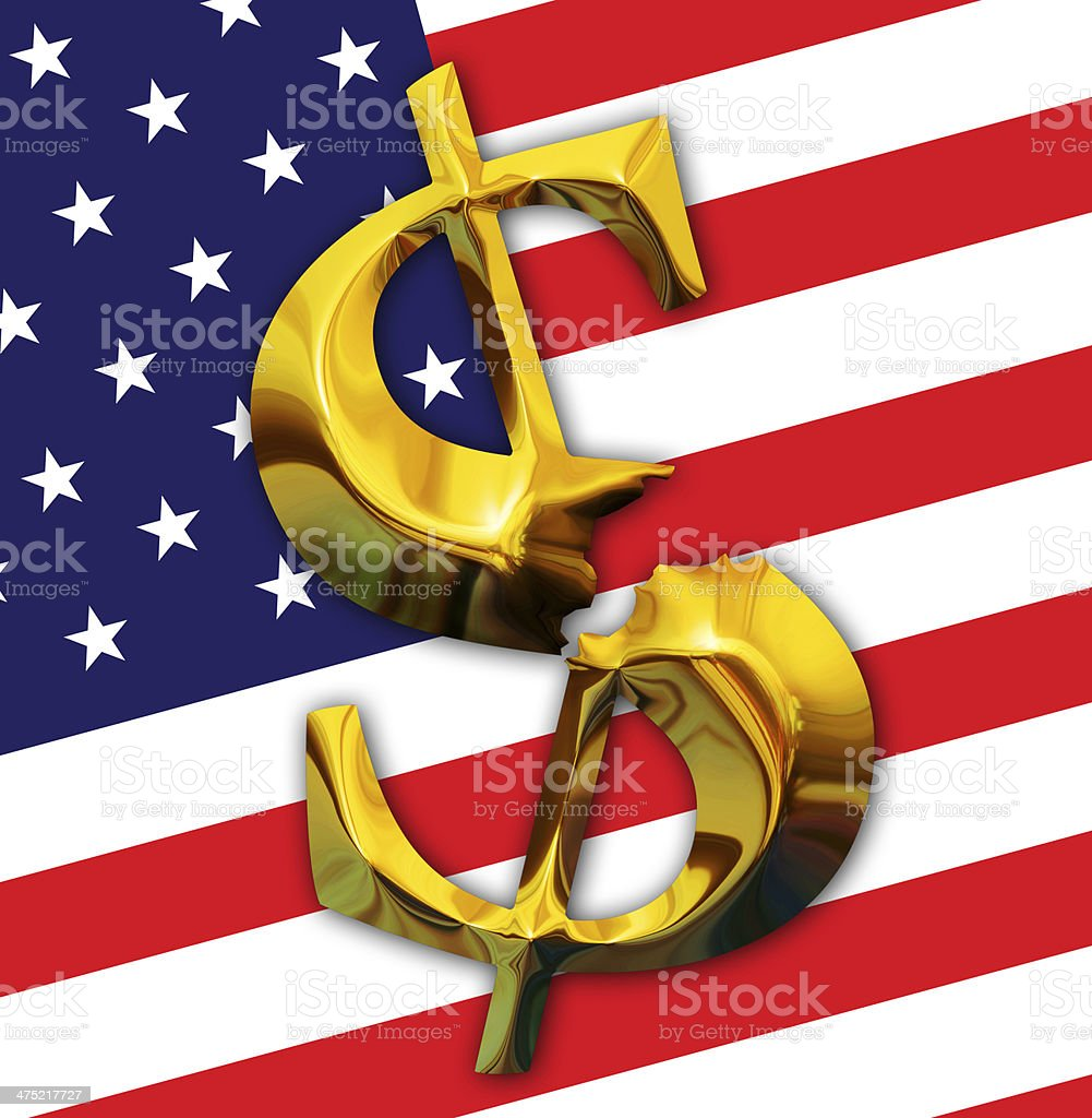 Broken gold dollar on American flag background royalty-free stock photo